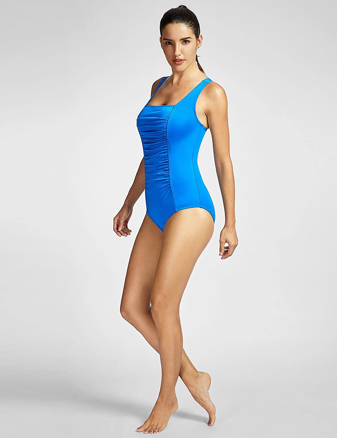 SYROKAN Womens Maillot Shirred Tummy Control Athletic Training One Piece Swimsuits