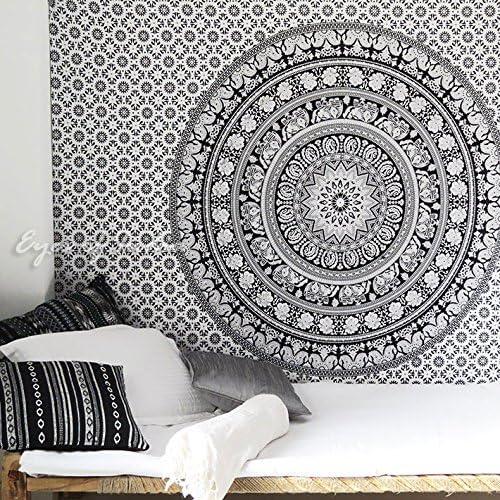 Small Twin White Boho Mandala Tapestry Bohemian Wall Hanging Indian Bedspread Do