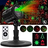 Christmas Laser Lights, Outdoor Waterproof Fairy Projector lights with Remote Red and Green Laser Magic Light Star Fairy Shower Garden Lighting Slide Show For Xmas Holiday Party Landscape Decoration