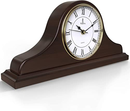 Mantel Clock, Wooden Mantle Clock for Living Room D cor – Silent, Decorative, Solid Wood, Battery Operated Mantle Clock for Fireplace Mantel, Office, Desk, Shelf Home D cor Gift, 15×7.5 Inch