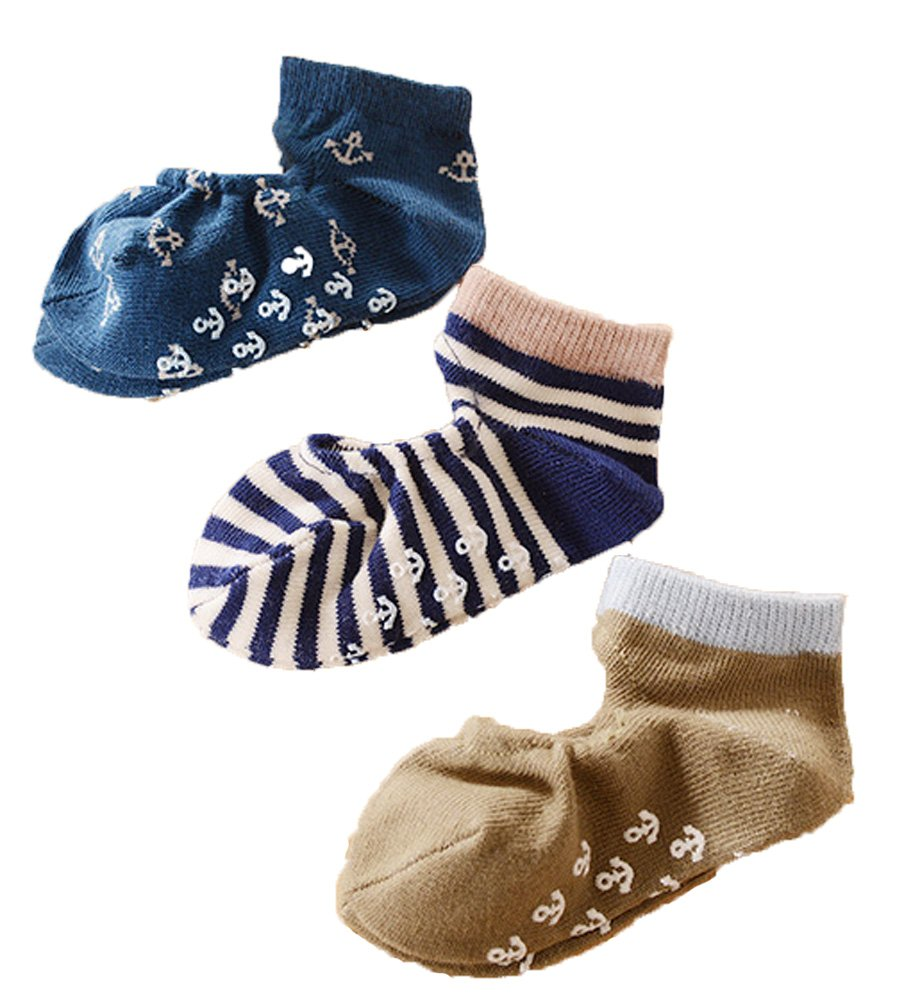 CHUNG Toddlers Thin No Show Top Cut Out Floor Slipper Socks Non-Skid 3 Pack
