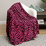 Animal Print Ultra Soft Pink Zebra Queen Size Microplush Blanket