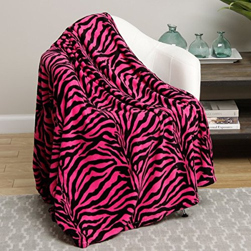 (Animal Print Ultra Soft Pink Zebra Queen Size Microplush Blanket)