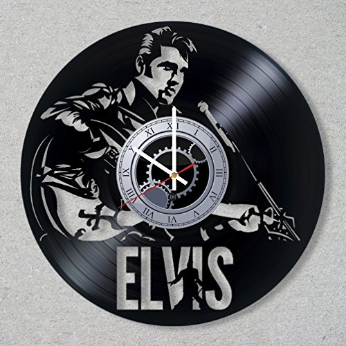 Vinyl Record Wall Clock Elvis Presley The King Music Legend Rock And Roll Guitar decor unique gift ideas for friends him her boys girls World Art Design