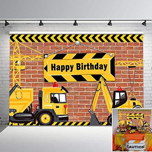 - Mehofoto Construction Birthday Backdrop Construction Party Photo Background 7x5ft Dump Truck Birthday Background Cake Table Boy Birthday Decorations