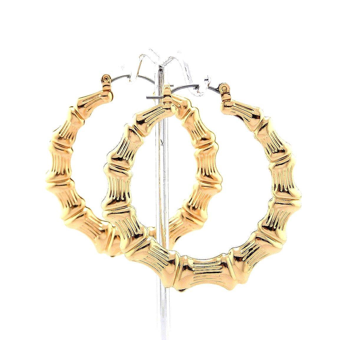Classic Bamboo 1.90 Hoop Door Knocker Earrings in Gold-Tone NYFASHION101 XE1121-5