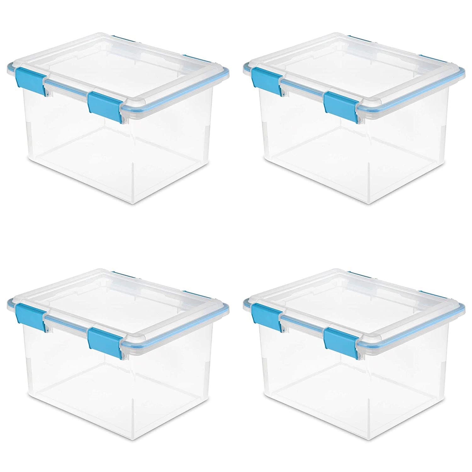 Sterilite 19334304 32 Quart Gasket Box with Clear Base and Lid (4 Pack)