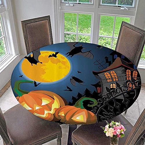 Mikihome Chateau Easy-Care Cloth Tablecloth Gothic e with Halloween Haunted House Party Theme Trick or Treat 35.5