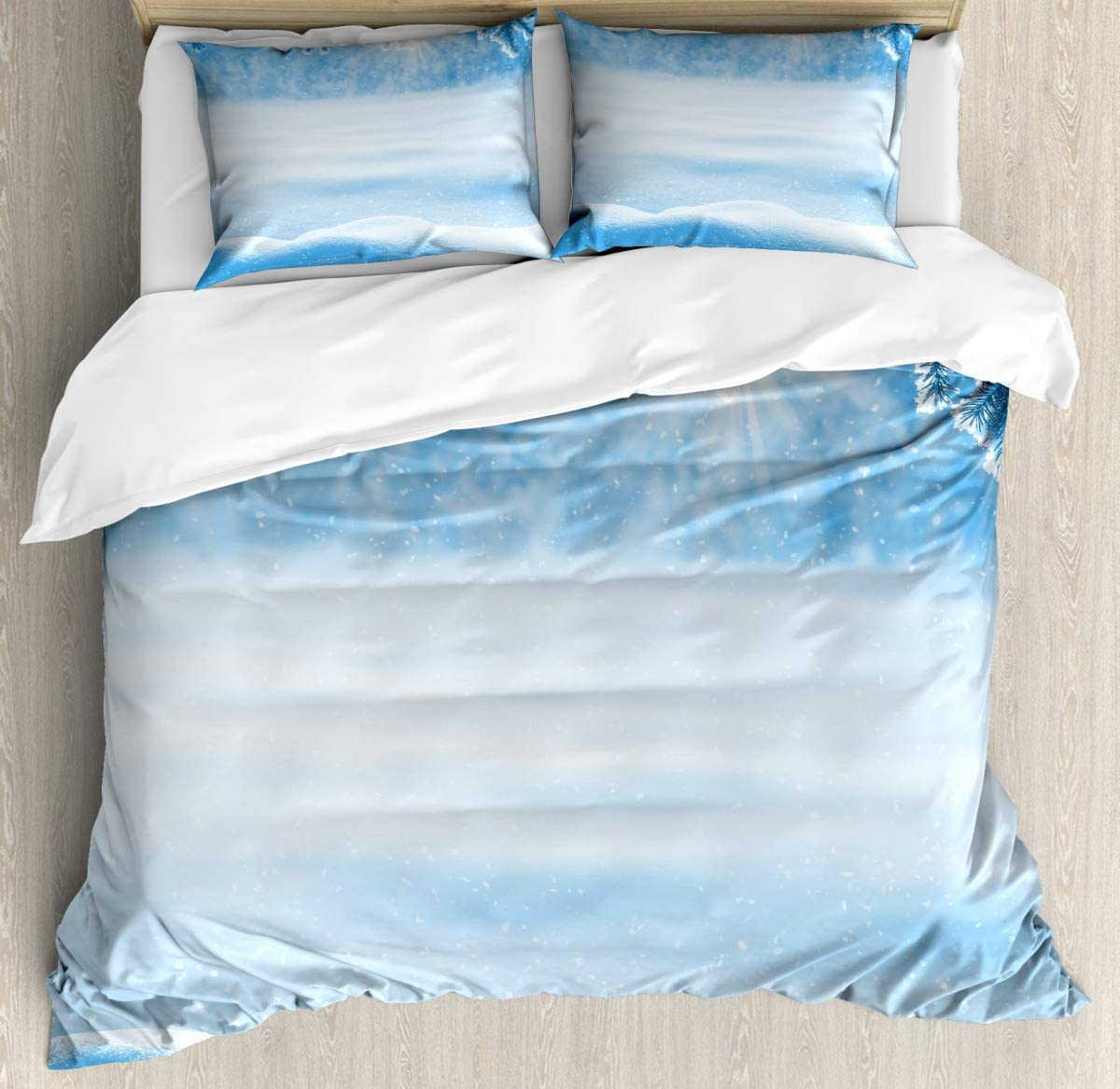 "Duvet Cover Bedding Duvet Cover SetSnow Cold Winter Duvet Cover SetCustom 3 Piece Bedding Set with 2 Pillow Shams,86""x94""/19""x29""inch"