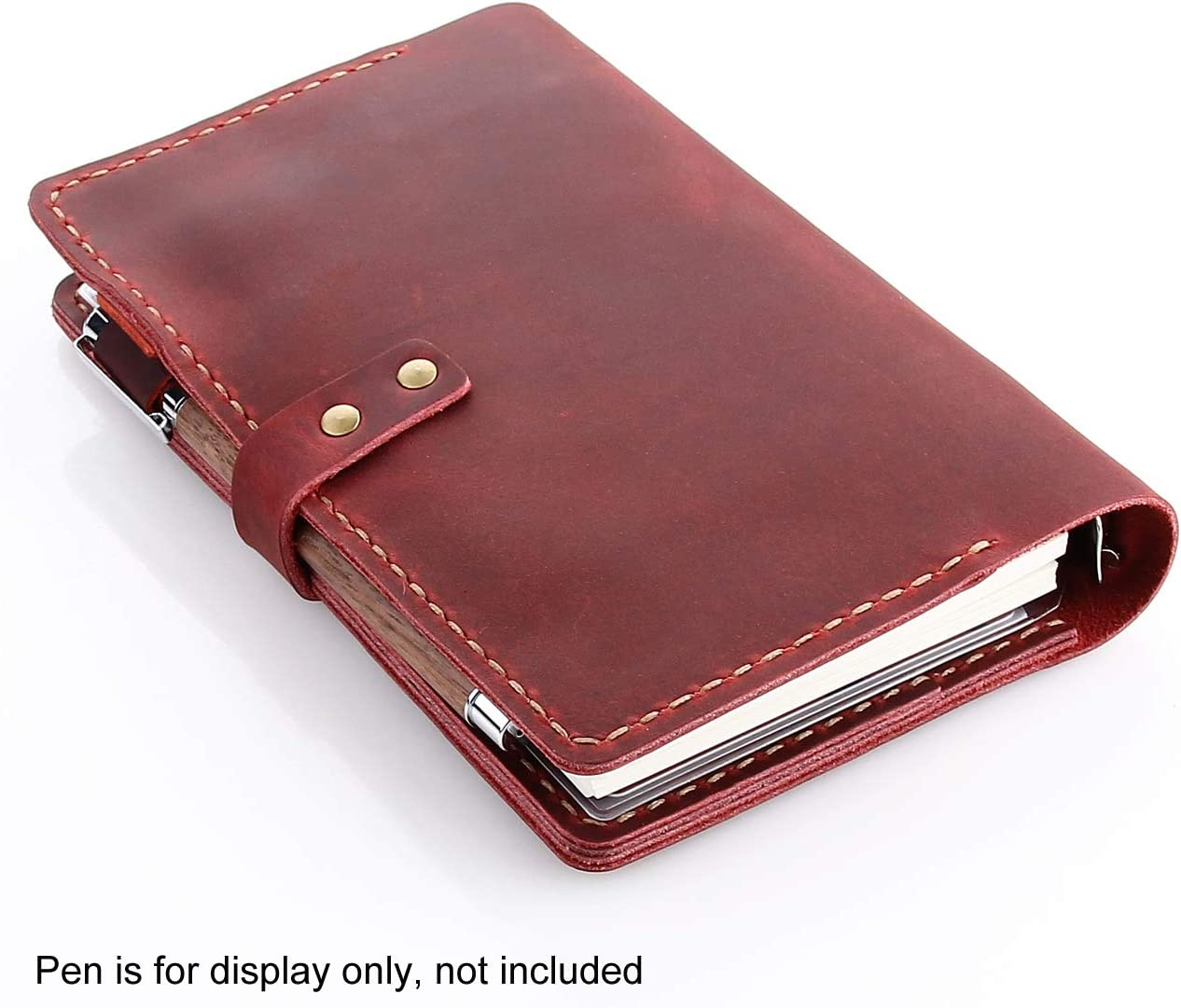 A6 Ring Binder Refillable Diary Notepads Vintage Handmade Travel Organizer Agenda for Men Women Genuine Leather Journal Writing Notebook Coffee