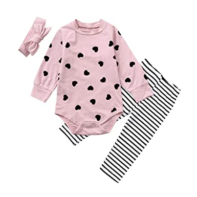 056dd56e8058 Amazon.com  Christmas 3pc Set Outfit Unisex Baby Girl Heart Long ...
