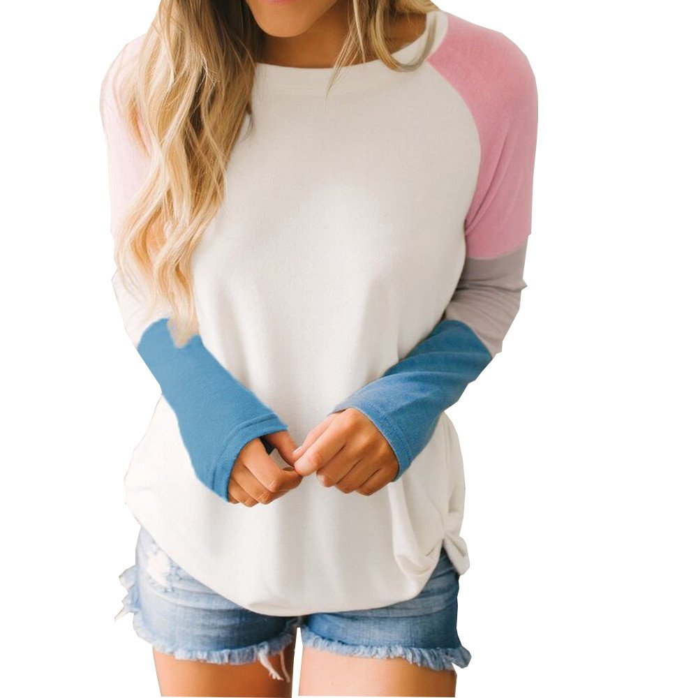 Ximandi Womens Long Sleeve Patchwork Long Sleeve Pullover Sweatshirt Ladies Tunic Top Blouse