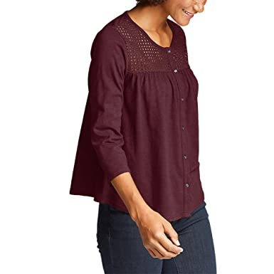 20761250 Eddie Bauer Women's Lola 3/4-Sleeve Eyelet Button-Down Shirt at Amazon  Women's Clothing store: