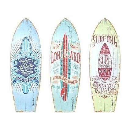 CAPRILO Set de 3 Adornos Pared Decorativos de Madera Tablas Surf. Cuadros y Apliques.