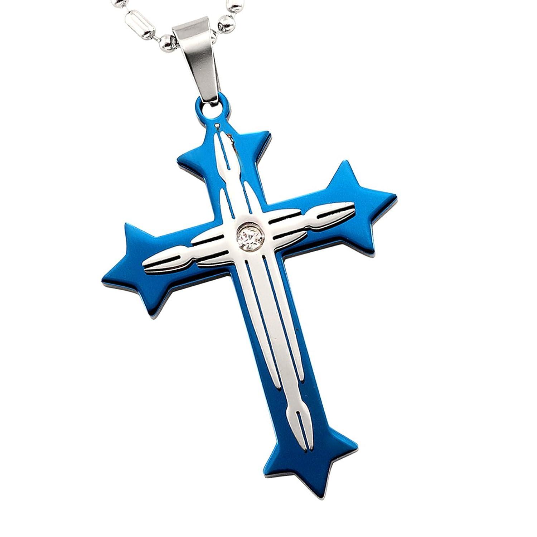 6a9bbf0b25a5 cupimatch Mens mujeres azul plateado Cruz colgante collar de acero  inoxidable cadena Caliente de la venta
