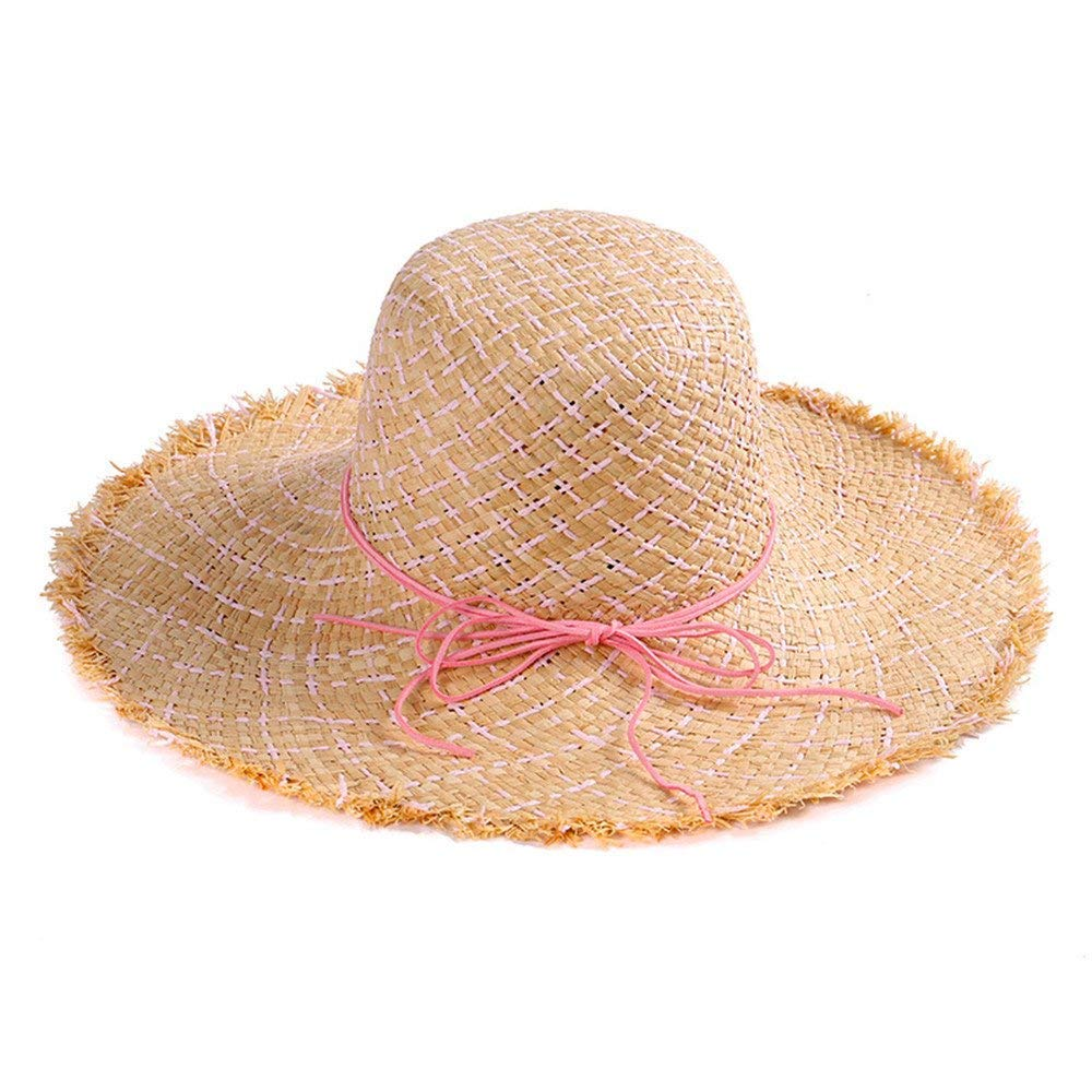 Yisaesa Sombrero de Paja de ala Grande Sombrero de Paja Sombrero de Playa  Plegable Grande de Verano para Mujer (Color   Amarillo 4f9ad28f6a1