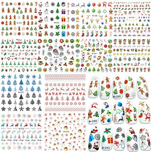 Whaline 12 Sheets Christmas Nail Art Water Transfer Stickers Santa Claus Reindeer Xmas Tree Decals for Women Girls Kids Manicure DIY or Nail Salon]()