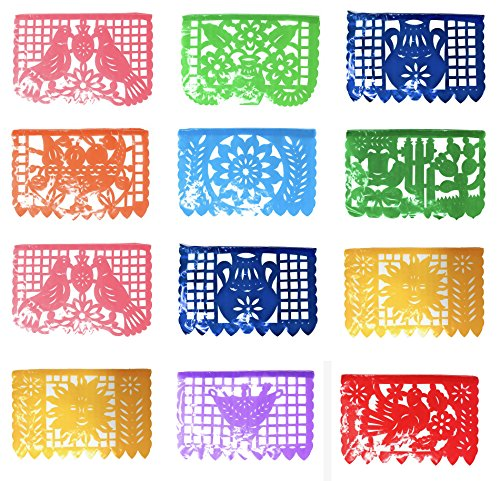 Tio Chente's Medium Papel Picado PLASTIC Banner - Pack of 3 Banners of 16 Feet and 12 Frames Each (Mexican Wedding Flags)