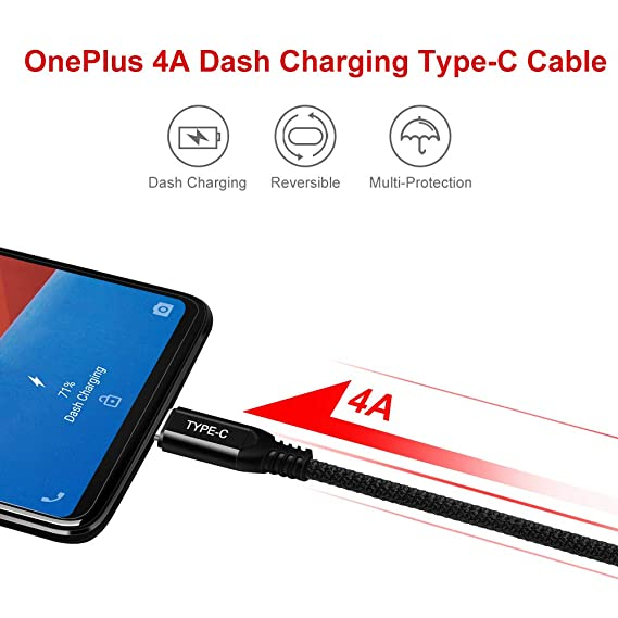 COOYA for OnePlus 6T Charger Cable Dash Charging USB Type C Cable 6.6FT-2Pack, Fast Charge & Sync Type-C Braided Cord Charging Rapidly for OnePlus 7/7 ...