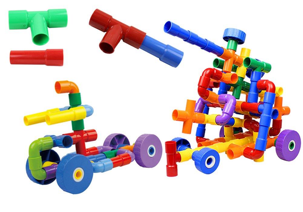 PK-Articles Building Blocks Tube Blocks Set Assembling Toys DIY Pipeline Blocks with Wheels 50 pcs Interlocking Set Construction Building Blocks for Kids