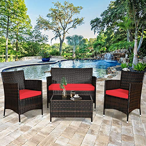 DORTALA 4-Piece Rattan Patio Furniture Set, w/Tempered Glass Coffee Table, Outdoor Sofa Table Set, w/Thick Cushion…