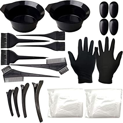 Anself 24 Pcs Kit de Coloración para Cabello, Tinte, Tazón de Peine de Coloración, Cubierta para los Oídos, Guantes Kit de Herramientas para ...