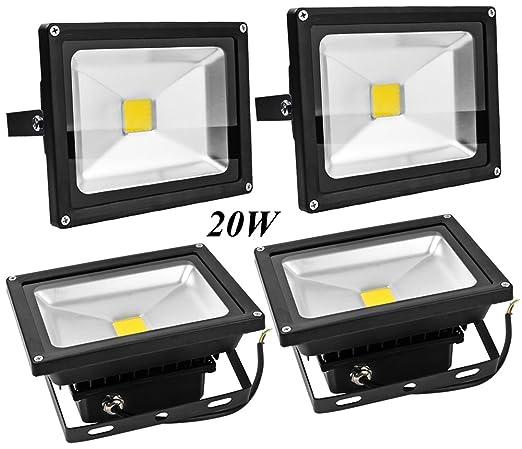 4X 20W Luz Foco Proyector LED Blanco Calido Foco Exterior Foco de ...