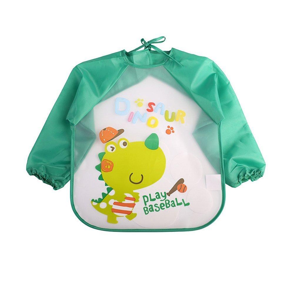 Strollway Hochwertige Schürze Kinderschürze Baby Langarm wasserdicht Lätzchen (grün)