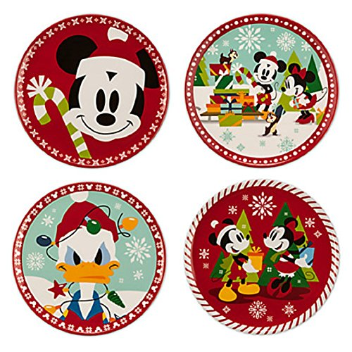 Disney Store Christmas Dessert Plates Mickey Minnie Mouse Donald Duck Melamine 2015
