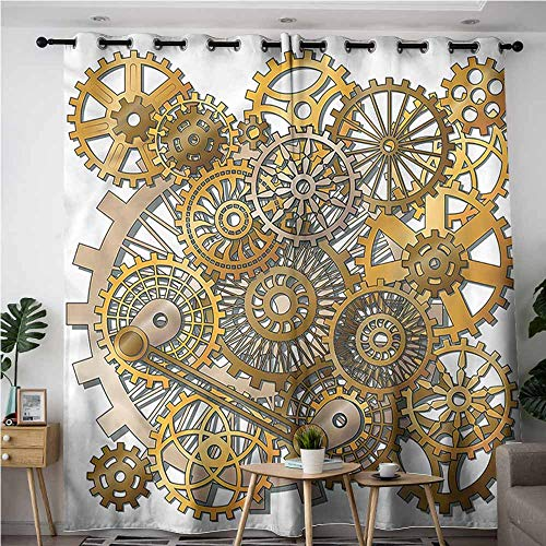 Tech 12' Wall Clock - Oncegod Extra Wide Patio Door Curtain,Clock Steampunk Gears Design,Hipster Patterned,W96x72L