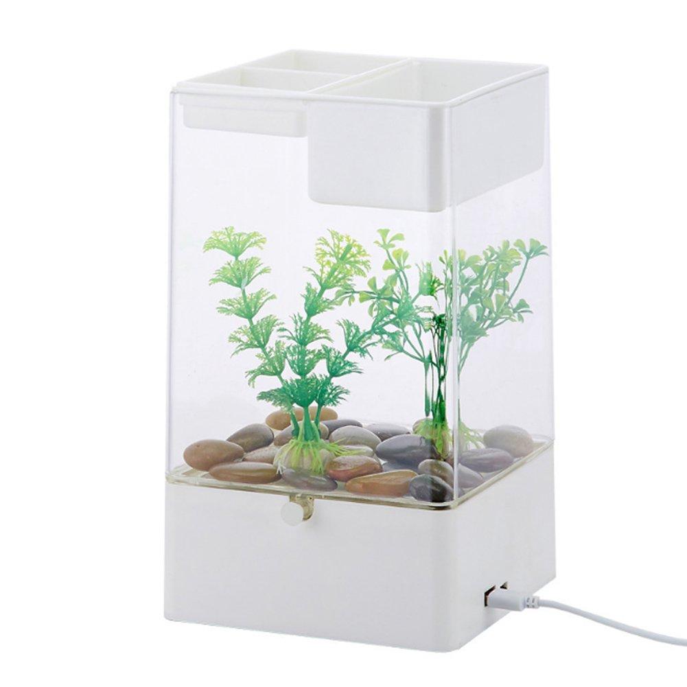 bayrick New Creative Aquarium Desktop Self Cleaning Mini Fish Tank + Led Colorful Light