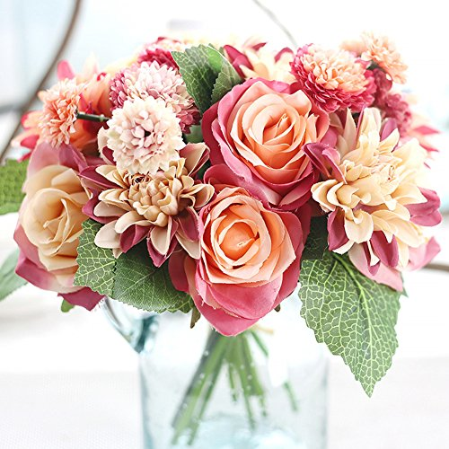 Meiliy 1 Bunch 8 Pcs Artificial Rose Dahlia Daisy Flower Bouquet Bride Bridesmaid Holding Flowers for Home Hotel Office Wedding Party Garden Craft Art Decor, Red&Orange