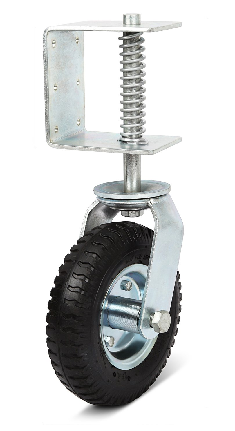 Nordstrand 8-inch Gate Wheel Casters Kit with Spring - Improved 2018 model - Semi Pneumatic Tire with Suspension - 360 Degree Swivel - up to 150lb Proved Load Capacity