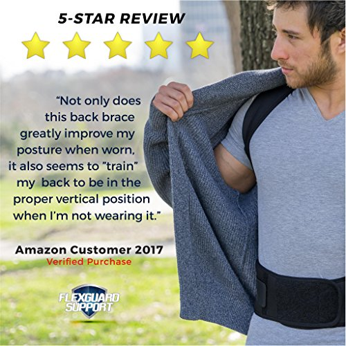 Back Brace Posture Corrector   Best Fully Adjustable Support Brace   Improves Posture and Provides Lumbar Support   For Lower and Upper Back Pain   Men and Women (L (30'' - 36'' waist)) by Flexguard Support (Image #4)
