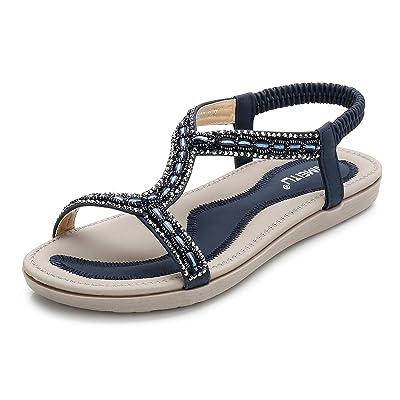 KSHUN Women's Flat Sandals Summer Casual Open Toe Ankle Bohemia Crystal Flat Sandal Shoes | Flats
