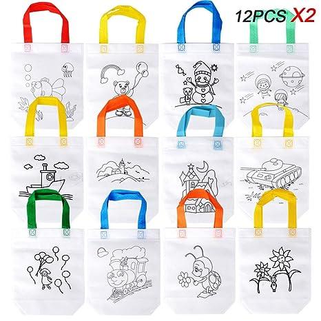 BETESSIN 24pcs Bolsas Colorear 12 Estilos Bolsas Infantiles Colorear Graffiti Bolsas Colorear para DIY Regalos de Cumpleaños Comuniones Escuelas ...