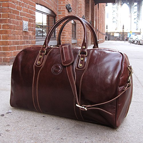 Cenzo Duffle Vecchio Brown Italian Leather Weekender Travel Bag by Cenzo (Image #5)