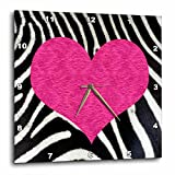 3dRose Punk Rockabilly Zebra Animal Stripe Pink Heart Print Wall Clock, 10 by 10-Inch