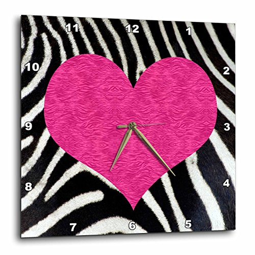 3dRose Punk Rockabilly Zebra Animal Stripe Pink Heart Print Wall Clock, 10 by (Pink Zebra Photo)