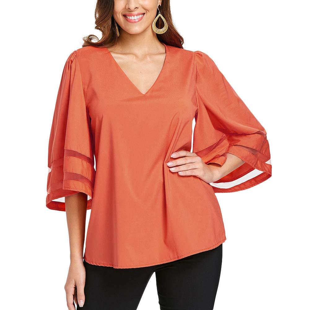 Dreamparis Women's Mesh Patchwork Blouse - Casual Half Bell Sleeve V Neck T-Shirt Tops Medium Orange