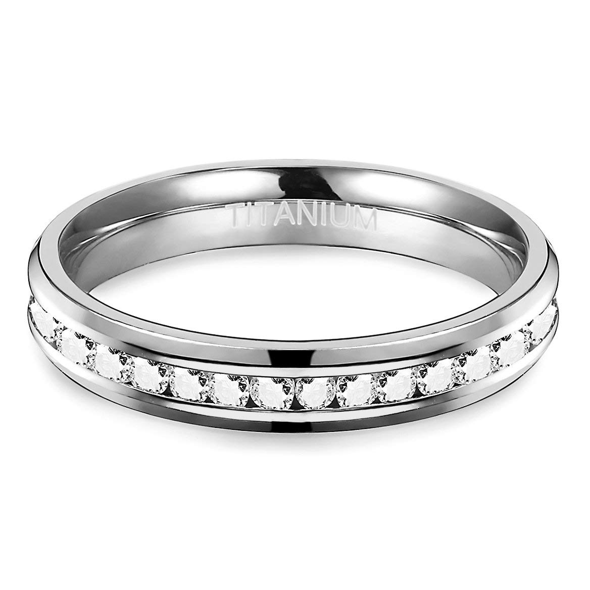 4-9 Available Fiasaso 4MM Womens Titanium Ring Eternity Wedding Engagement Band Ring with CZ