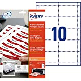 Avery L4727-20 Printable Name Badge Insert Refills (90 x 54 mm Inserts) - White, Pack of 200