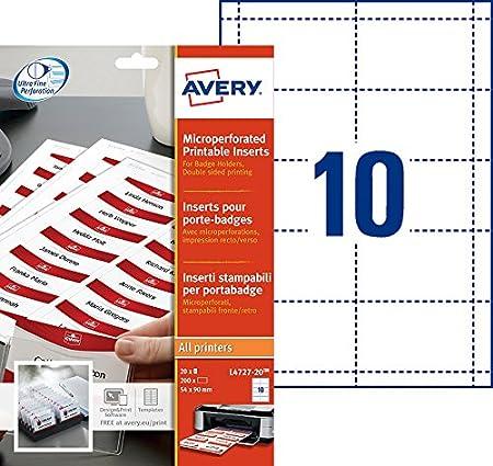Avery Inserti Badge microperforés–Stampa Laser, a getto d' inchiostro–Bianco 86 x 55 bianco a getto d' inchiostro-Bianco 86 x 55 bianco Avery Tico Srl L7418-25