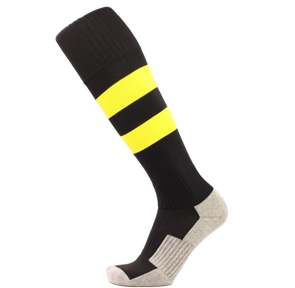 KALAKIDS Youth Soccer Socks for Boys Girls 1 Pack Knee High Stripe Compression Football Socks for Kids Black