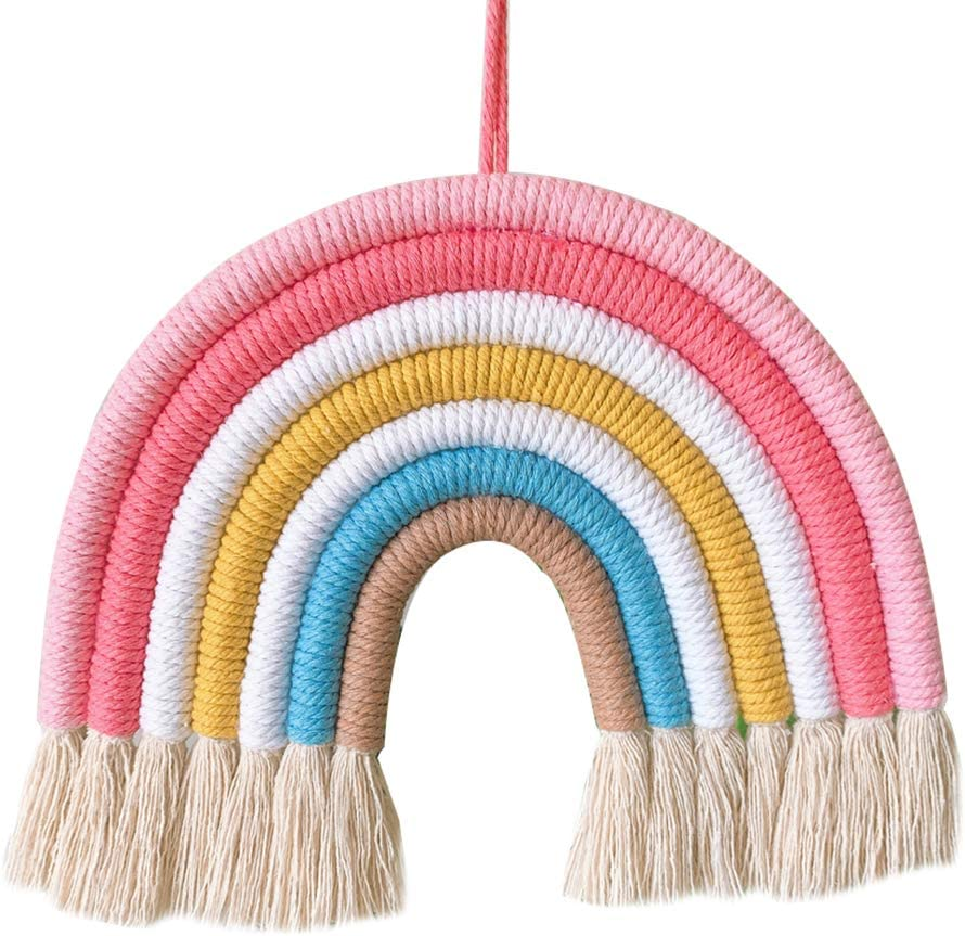 Forart Macram/é arc-en-ciel frontons en macram/é arc-en-ciel Tenture murale color/é petite tapisserie corde tiss/ée d/écoration glands 11x11 pouces