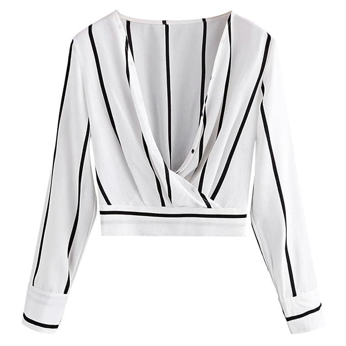 Blusa de Mujer, BaZhaHei, Blusa de Rayas de Mujer Camisa de Manga Larga con