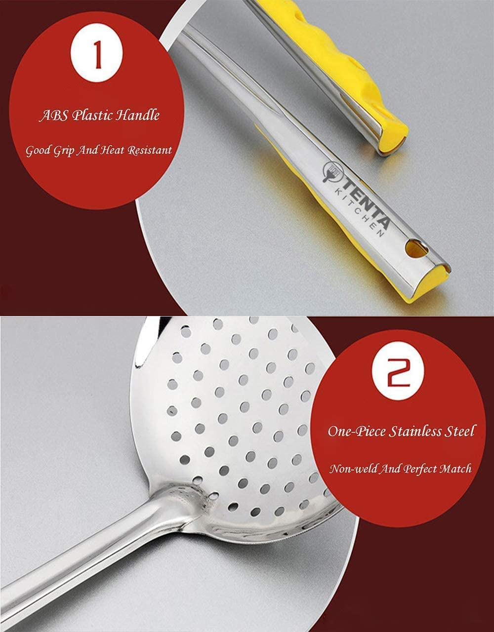 Zoom TIME Dia 14CM Stainless Steel Skimmer//Slotted Spoon//Strainer Ladle with ABS Plastic Heat Resistant Handle