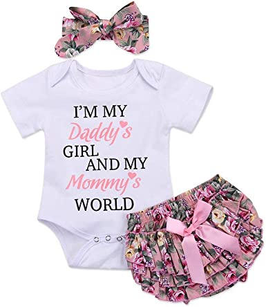 Headband Baby Girls Outfit Romper Jumpsuit DADDY Letters Printed Bodysuit