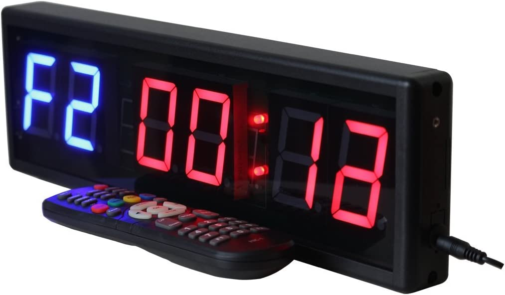 Operated by Wireless Remote Control Ledgital Gym Timer for Home Gym 2.3 High Character 15x5 Cross-Fit Interval Clock