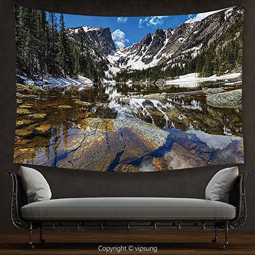 House Decor Tapestry Lake House Decor Collection Dream Mirroring Lake at the Mountain Park in West America River Snow Away Photo Green Brow Wall Hanging for Bedroom Living Room Dorm